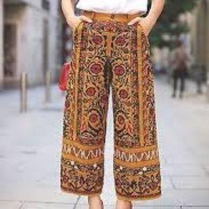 Zara Trafaluc heavily embroidered mustard pants